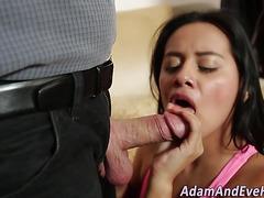 Latina slut sucking dong