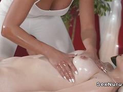 Tanned lesbian masseuse nuru massage