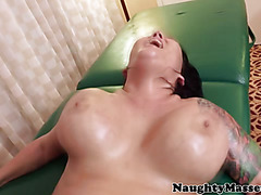 Massage parlor sex with chubby brunette being roughly fingered