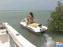 Lovely Kandi gets caught driving boss jet ski