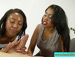 Black step MILF helps daughter with bj