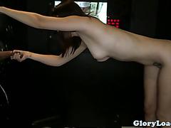 Glory hole slut handling two dicks