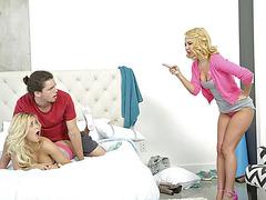 Blonde MILF Aaliyah and Teen Marsha in a wild threesome sex