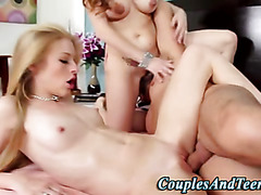 Teen fingered and fucked by couple