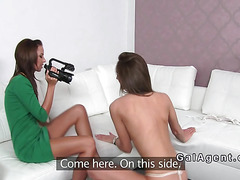 Amateur in g string licks female agent