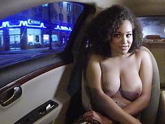 Huge tits ebony Julie Kay rides on cock