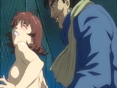 Hentai girl gets poked from behind in the fence