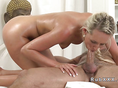 Blonde fucks masseur who gets orgasms