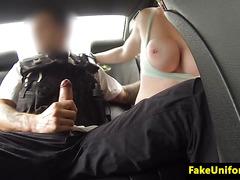 British newbie analfucked in cop car