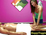 Sensual asian masseuse pleasing customer