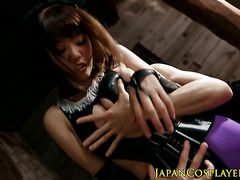 Slimed japanese babe in costume pussyrubbed