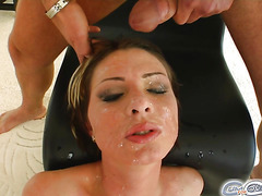 Cum For Cover Garbriella's blindfolded and soaked in cum