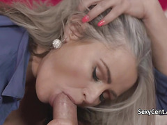 Busty mature lady sucking fat cock