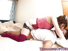 Nippon teen jerking off lucky guy