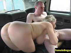 Femdom cabbie pleasured by sub male client