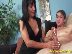 Pierced stemom jerking on cock