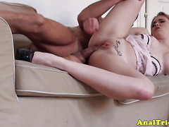 First anal experience for blonde girlfriend