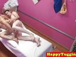 Skinny asian masseuse riding hard cock