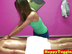 Tugging asian masseuse caught by spycam