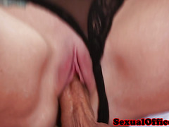 Bigtitted officebeauty riding dick on desk