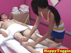 Smalltit asian masseuse sucking hard cock