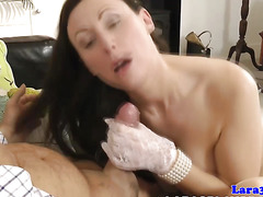 Classy british mature takes on two hard cocks