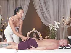 Horny masseuse banging hot dude
