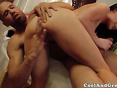 Brunette masseuse sucking clients cock