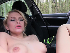 Pretty and Sexy Babe Karina Grand have outdoor sex with a stranger
