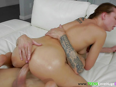 Teen gags on bigcock and gets assfingered while riding cock