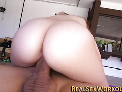 Athletic slut rides dick