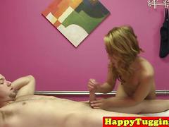 Petite asian masseuse mounts her clients cock