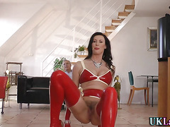 British latex milf fucks