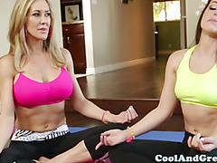 Yoga loving babes horny for hard cock