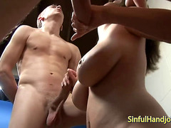 Handjob and titfuck for two