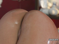 Oiled brunette fucking on massage