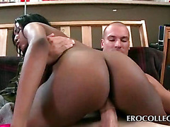 College mulatta humping massive dick on sofa