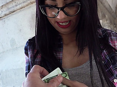 Nerdy bitch Julia getting flashes tits in public and gets banged in private