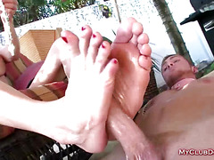 Sexy Femdom Gives A Great Footjob