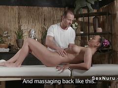 Bent over busty babe banged on massage