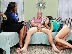 Hot black stepmom teaches Trinity how to please her man
