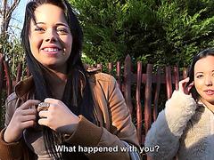 Slutty hot girls Tricia Alexis and Alyssa enjoys gathering sex