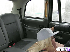 Big knockers blondie whore gets pussy fucked by fake driver
