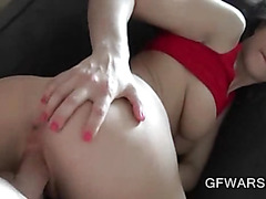 Chesty GF gets pink pussy nailed in POV close-up
