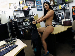 Super sexy long legged babe enjoys blowing hard long dick in the pawnshop