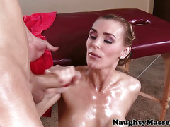 Massaged oily MILF Tanya Tate dick drools