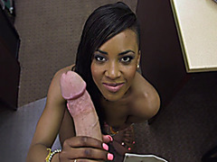 Black babe gets a taste of big pink cock
