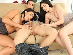 Claudia was munching Mirandas tiny pussy