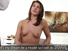 Brunette banged guy in casting office