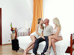 A very harcore threesome action with two stunning blonde chick